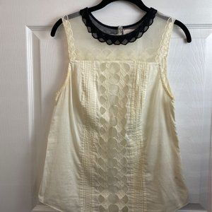 Anthropologie Postage Stamp Cream Blouse. Sz 4